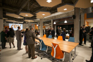 A 2014 media open house at Rev Ithaca Startup Works.